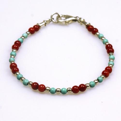armband bloedkoraal, turquoise met zilver