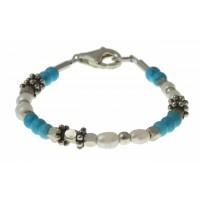 baby-armband turquoise, parels en zilver