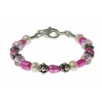 baby-armband roze en witte parels, kristal en zilver