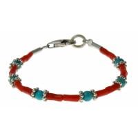 armband bloedkoraal, turquoise en zilver