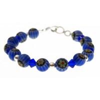 armband blauwe mille-fiori , kristal en zilver