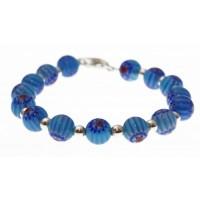 armband blauwe mille-fiori en zilver