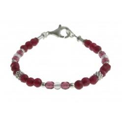 armband roze jade, rozekwarts en kristal met zilver