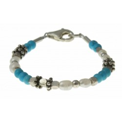 baby-armband turquoise, parels en zilver