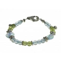 baby-armband peridot, blauwe topaas, kristal en zilver