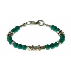 baby-armband turquoise met zilver