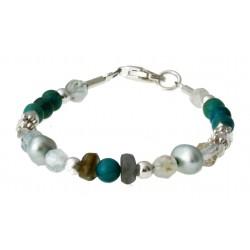 armband turquoise, aquamarijn, labradoriet, parels en zilver