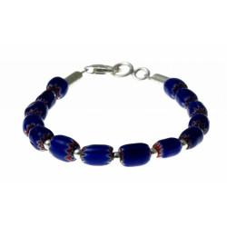 armband blauwe chevron met zilver