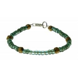 armband blauw-groen glazen kralen met brons