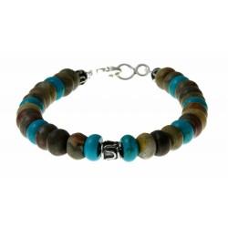 armband jaspis, turquoise en zilver