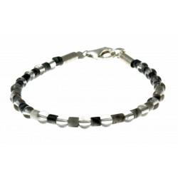 armband zebra-jaspis, rookkwarts en zilver