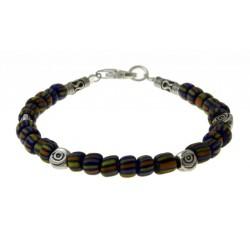 armband blauwe indo-pacific glaskralen met zilver