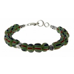 armband groene indo-pacific glaskralen met zilver