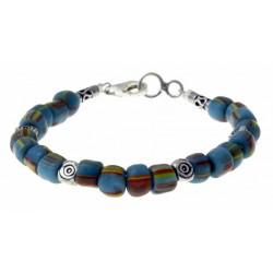 armband licht-blauwe indo-pacific glaskralen met zilver