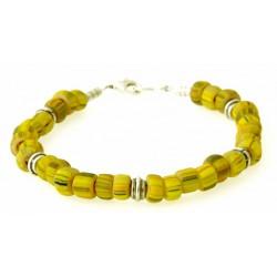 armband gele indo-pacific glaskralen met zilver