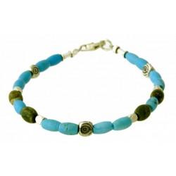 armband turquoise, unakiet en zilver