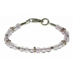 armband rozekwarts en zilver