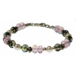 armband roze en bruin kristal, parels en zilver