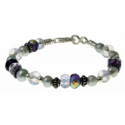 armband paars en helder kristal, grijze parels en zilver