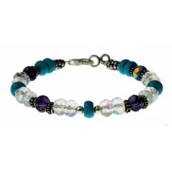armband kristal, turquoise en zilver