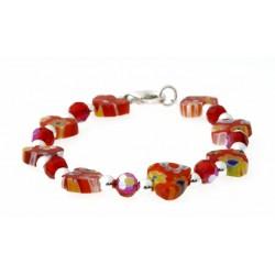 armband mille-fiori rode hartjes, kristal en zilver