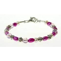 armband roze en witte parels, kristal en zilver