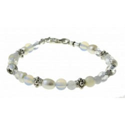 armband edelsteen, kristal en zilver