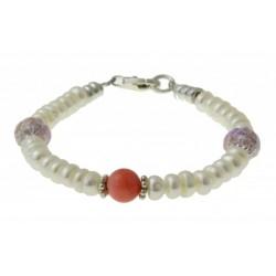 armband parels, roze parelmoer, kristal en zilver.