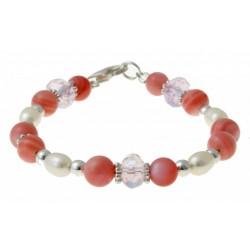 armband parels, roze parelmoer, kristal en zilver