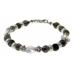 armband labradoriet, parels, kristal en zilver