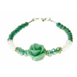 armband turquoise, maansteen, kristal, zilver en een roosje