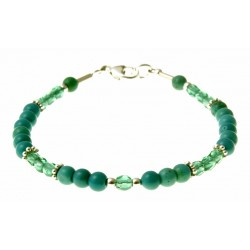 armband turquoise, kristal en zilver