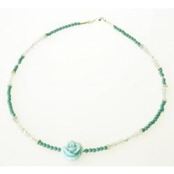 ketting turquoise, aquamarijn en zilver en een roosje
