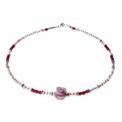 ketting parels, kristal en zilver en een roosje