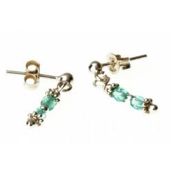 echt zilveren oorbellen met lichtblauwe kristal