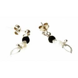 echt zilveren oorbellen met parels en lavasteen