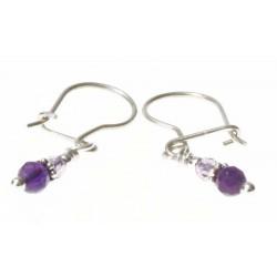 echt zilveren oorbellen met amethist en paars kristal