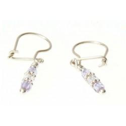 echt zilveren oorbellen met roze en helder kristal