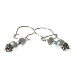 echt zilveren oorbellen met labradoriet en parels