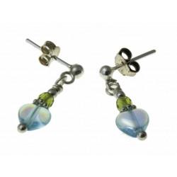 echt zilveren oorbellen van groen en blauw kristal