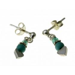 echt zilveren oorbellen turquoise en kristal.