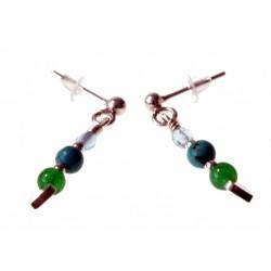 echt zilveren oorbellen groen-blauw