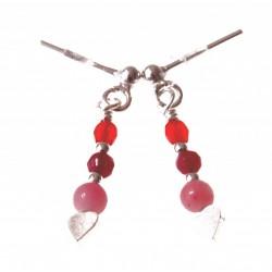 echt zilveren oorbellen roze-rood