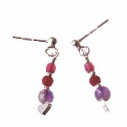 echt zilveren oorbellen paars-roze